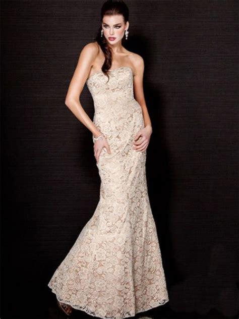 Longdress Mermaid mermaid strapless chagne lace evening wear dress