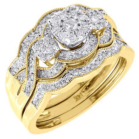 wedding 3 piece bridal set 14k yellow gold round