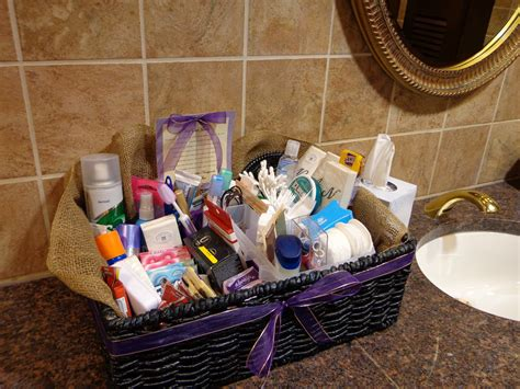 what to put in a bathroom basket for a wedding my honey bunch wedding bathroom basket