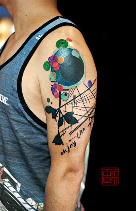 tattoo fonts modern modern style multicolored flower shaped shoulder