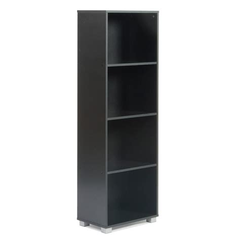 narrow bookcase black sorento black narrow bookcase df05104usa the home depot