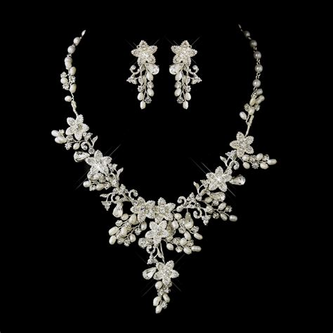 Brautschmuck Set Strass by Glamorous Pearl Rhinestone Floral Bridal Jewelry Sets