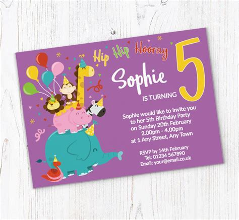 5th Animal Birthday Party Invitations   Customise Online