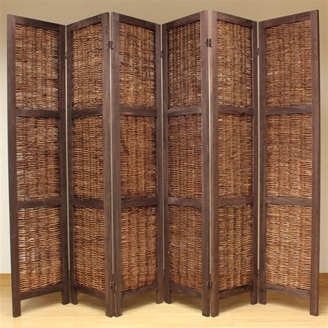 Rattan Room Divider Brown 6 Panel Wood Frame Wicker Room Divider Privacy Screen Separator Partition Ebay