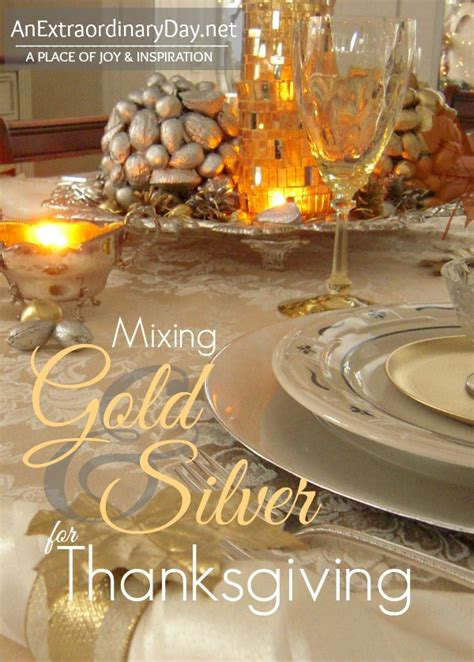 Dining Room Table Christmas Decoration Ideas mixing gold and silver for thanksgiving tablescaping