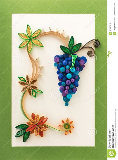 paper flowers and grape made with quilling technique stock