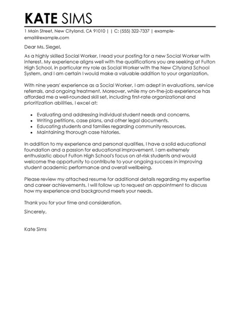 thank you letter to school social worker social services cover letter exles livecareer