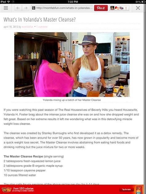 yolanda foster diet and exercise yolanda fosters master cleanse yolanda foster