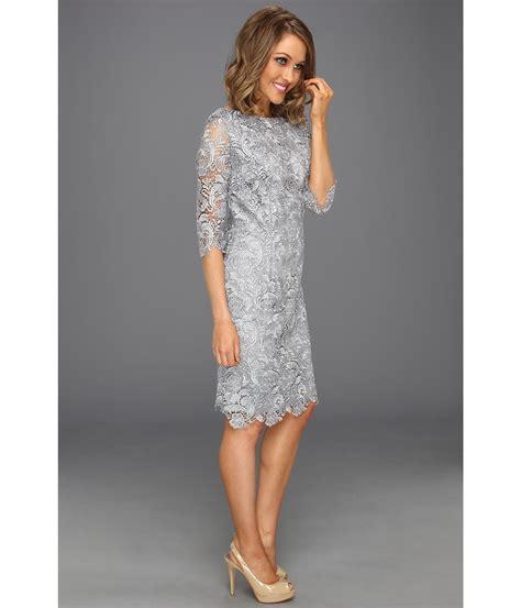 lyst eliza j 3 4 sleeve lace sheath dress in gray