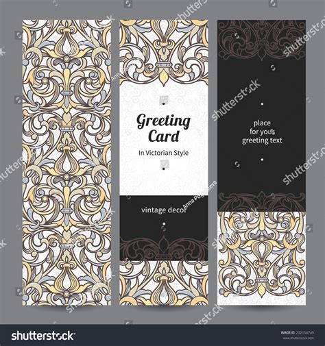 filigree cards templates vintage ornate cards style black stock vector