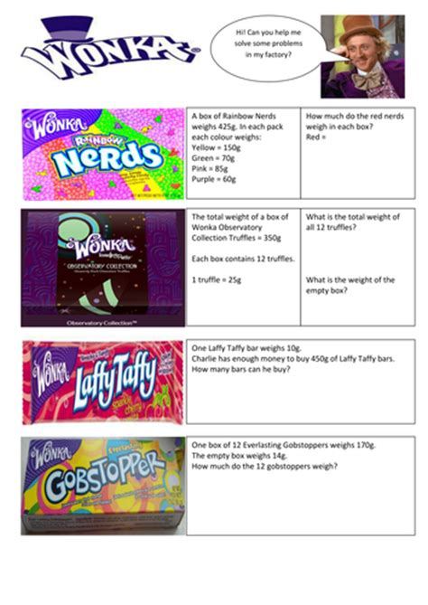 willy wonka themed weight word problems by selinaj