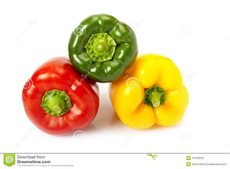colored peppers colored peppers on white background stock images image