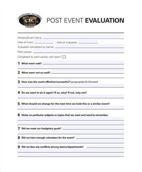 activity evaluation form template 7 activity evaluation form sles free sle exle