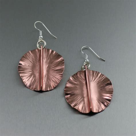 copper for jewelry fold formed copper pad earrings
