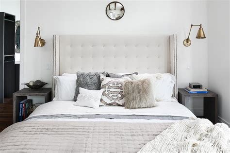 white tufted headboard with nailhead trim transitional camel velvet channel tufted headboard with white and tan