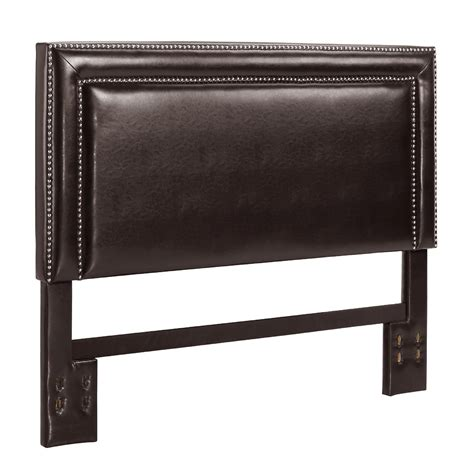 dorel espresso faux leather headboard with nailheads