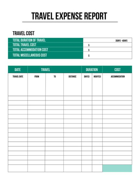 travel expenses form template free excel expense report template
