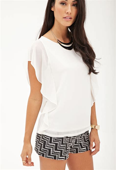 Forever21 Flutter Sleeve Blouse lyst forever 21 contemporary flutter sleeve woven top in white