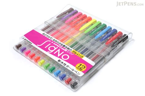 um colors uni signo um 100 gel ink pen 12 color set jetpens