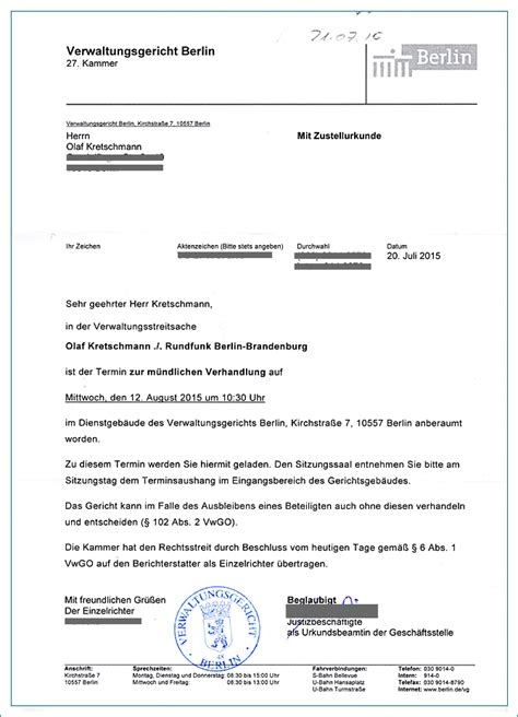 Schreiben Gericht Muster Olaf Kretschmann Vs Rundfunkbeitragspflicht Der Info Zum Gesamten Klageverfahren Juli 2015