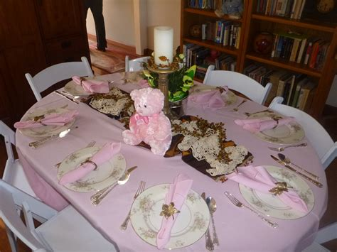 baby shower table setting clearwater cottage teddy bears roses baby shower