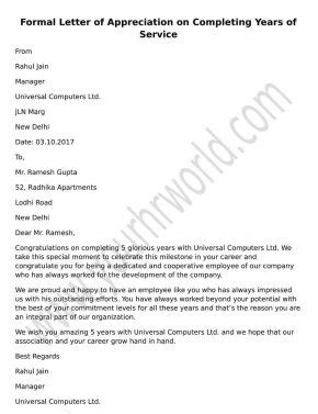 appreciation letter to employee for service formal letter of appreciation on completing years of