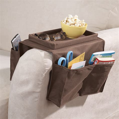 armchair organizer caddy 6 pockets for remotes and shelf