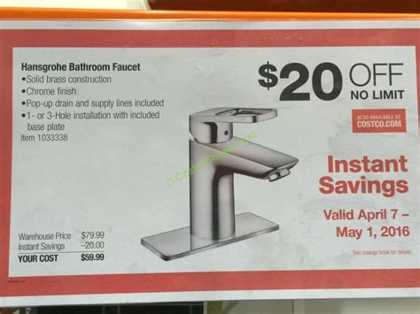 discount voucher uk bathrooms costco 1033338 hansgrohe logis loop chrome bath faucet