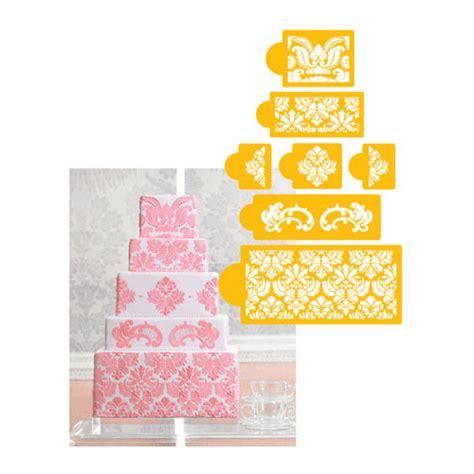 cake decorating stencils designer decorating stencil damask cake 5 tier set new ebay