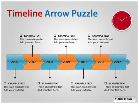 timeline arrow puzzle template for powerpoint timeline