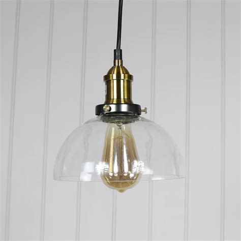 Glass Dome Pendant Light Clear Glass Dome Industrial Pendant Ceiling Light Melody Maison 174