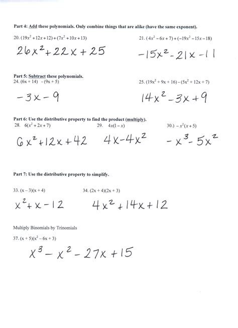 Adding Subtracting And Multiplying Polynomials Worksheet by Addition And Subtraction Of Polynomials Prelgebra