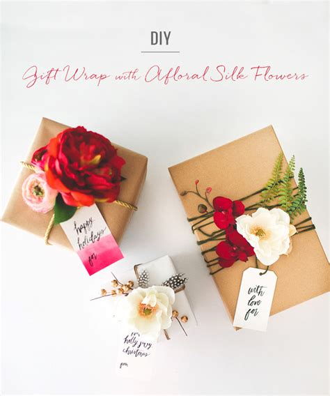 wrap gift diy gift wrap with silk flowers from afloral green