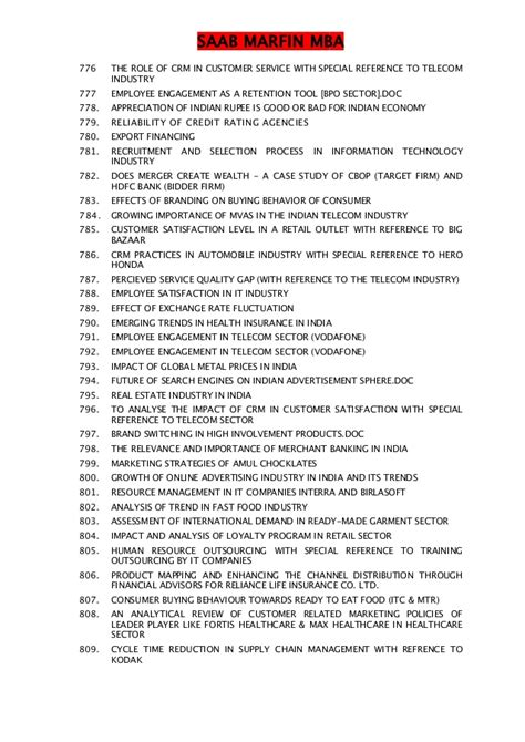 Non Sexual Mba by 1682 Types Of Mba Project List