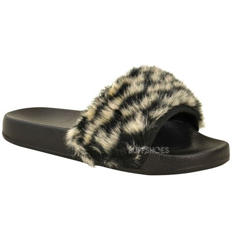 Summer Flat Fur Mules womens flat comfy faux fur trim rubber sliders flip