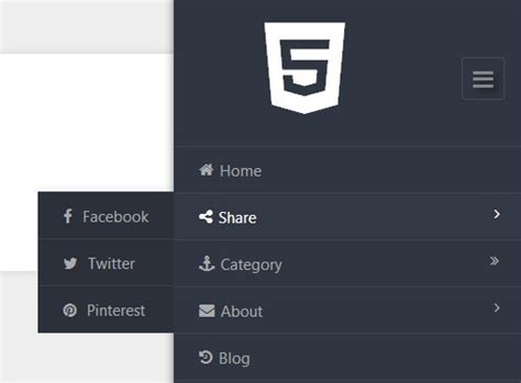 Top Bar Html5 Multi Level Sliding Sidebar Navigation With Jquery And
