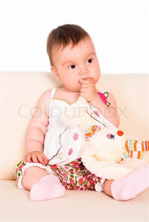 baby on couch little baby on sofa stock photo colourbox
