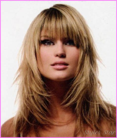 long layers with bangs hairstyles for 2015 for regular people medium to long layered haircuts with bangs stylesstar com