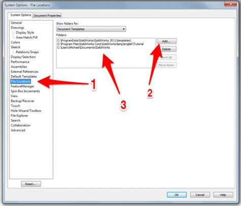 setup of solidworks template file paths attwiki