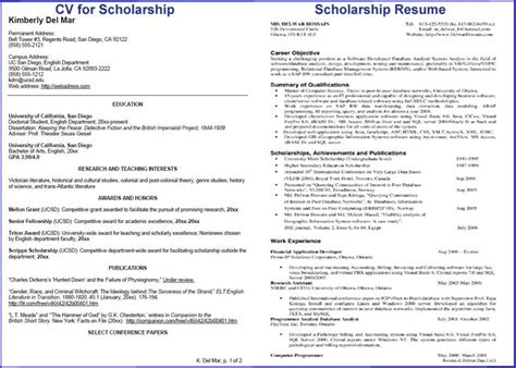 Resume For Scholarship by College Scholarship Resume Template Best Resume Collection