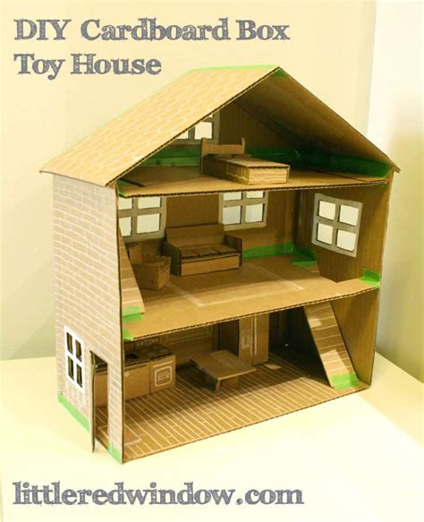cardboard houses diy cardboard box toy house little red window