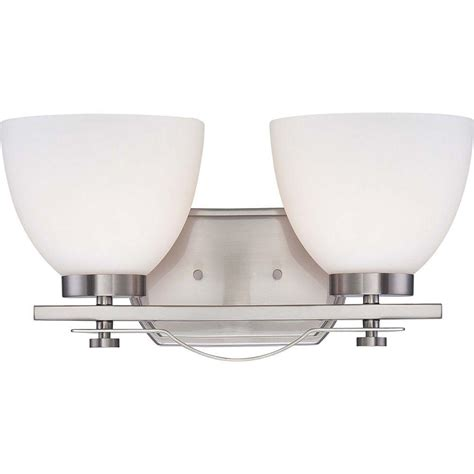 l shades for bathroom fixtures illumine 2 light brushed nickel vanity fixture with