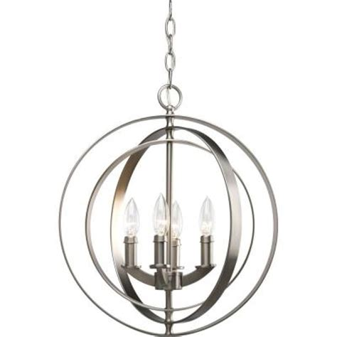 Foyer Hanging Light Fixtures Progress Lighting Equinox Collection 4 Light Burnished Silver Foyer Pendant P3827 126 The Home