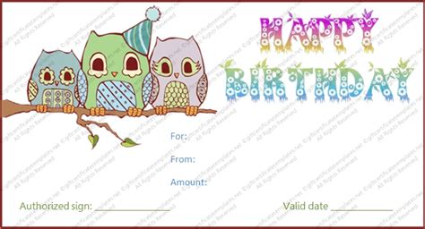 Printable Birthday Gift Certificate Journalingsage Com Birthday Gift Card Template Printable
