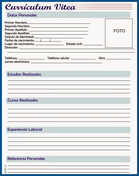 Modelo De Curriculum Vitae Para Completar Y Imprimir Curriculum Vitae Pronto 2014 Para Preencher E Copiar