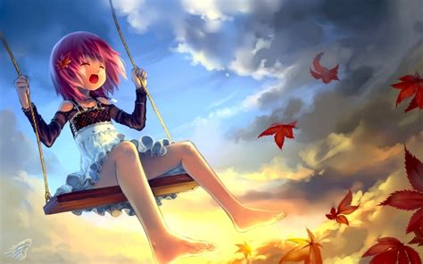 lolicon panties free hd wallpapers clouds leaves lolicon anime girls babycat artist original