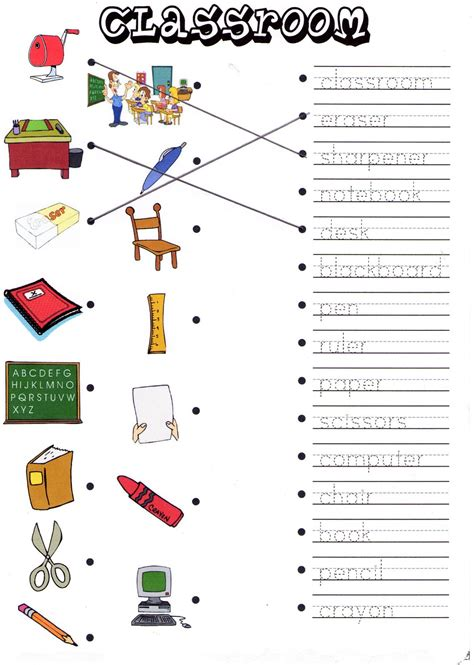 pattern matching espanol spanish classroom objects worksheet worksheets for all