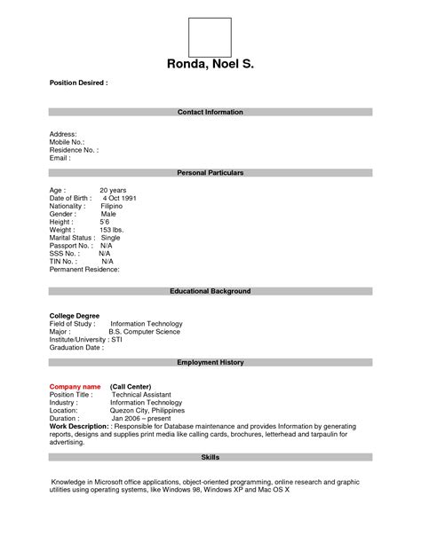 Free Printable Fill In The Blank Resume Templates by Free Resume Templates Format Sle For