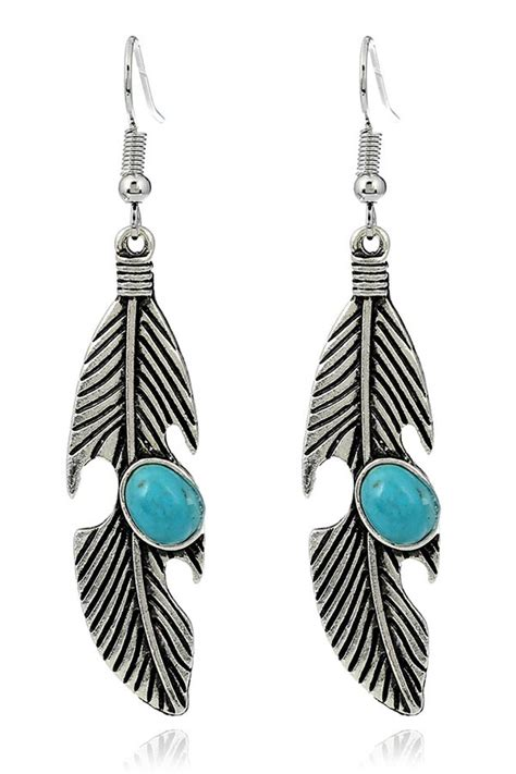 Retro Drop Earring silver turquoise feather embellished cutout retro drop