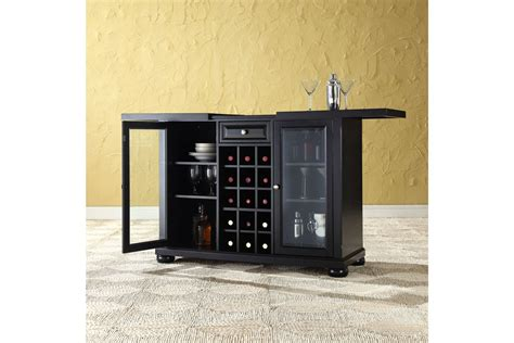 sliding top bar cabinet alexandria sliding top bar cabinet in black finish by crosley
